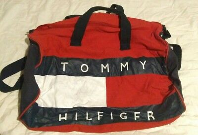 Vintage Tommy Hilfiger Canvas Holdall Duffle Bag Sports Bag Travel Bag
