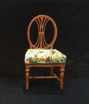 Bespaq Miniature Dollhouse Side Chair with petit point - needlepoint.