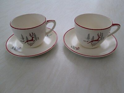 Crown Devon tea cups and saucers in the Stockholm leaping deer design x 2