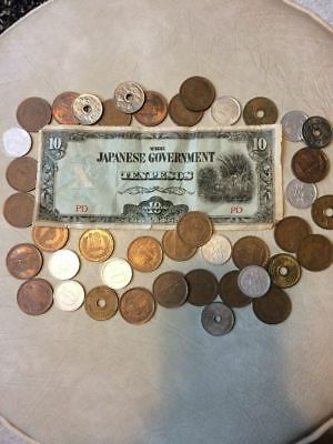 Japanese Yen Coin & Paper 10 Pesos WW2 Currency LOT