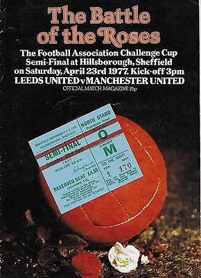 Fa Cup Semi-Final Programme & Ticket Leeds United V Manchester United 1977