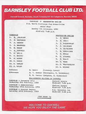 Barnsley V Manchester United Fa Youth Cup 1984 England Football Programme