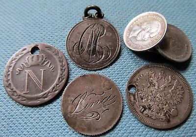 Lot 1800s Old World Love Tokens Coins Holed for Jewelry Use-Charms Cuff Button?