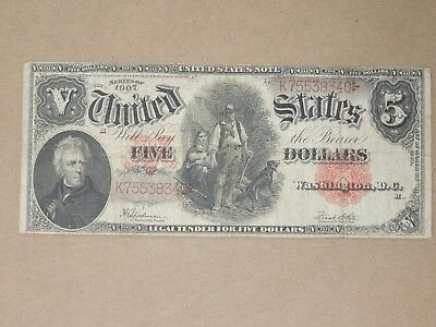 1907 Us United States Large Note $5 Red Seal Speelman-White Woodchopper