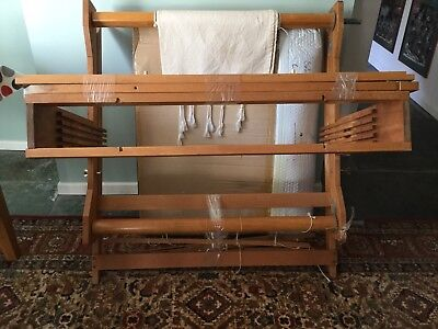 Pine free standing large weaving loom with accessories. 106cm width 110 height.
