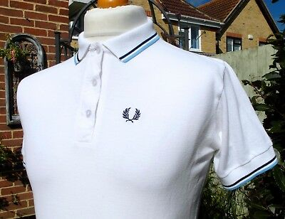 Fred Perry Women's White Twin Tipped Pique Polo - UK 16/ EUR 44/ US 12 - Mod Ska