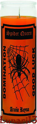 Spider Queen, Araña Reyna, Orange, 7 Day Candle, Wicca, Domination, Good Luck