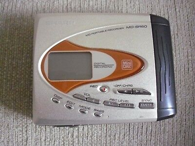SHARP MINI DISC PORTABLE PLAYER & RECORDER SR60 & CHARGER PLUG SPARES or REPAIRS