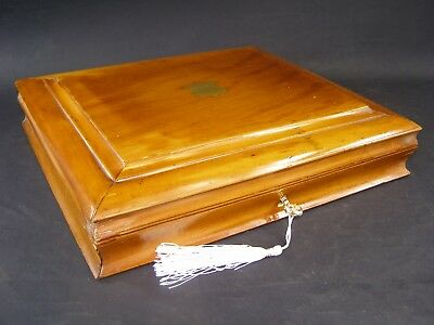 Antique Satin Walnut Document Box Working Lock & Key 1890 Shaped Sides
