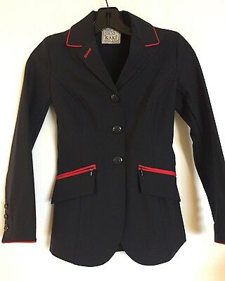 KAKI by Kathryn Hall Riding Jacket Show Coat Equestrian Jumper Navy Blue Tech 8