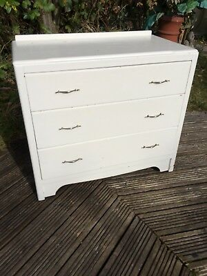 vintage solid wood painted chest of drawers, fully functional,