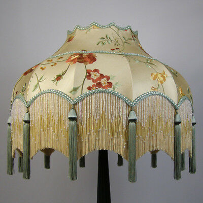 Victorian Vintage Embroidered Silk Standard Lampshade REDUCED BY £100