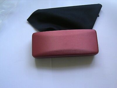 Small Slim Rusty Red Metal Covered Optical Glasses Specs Reading Case inc.Cloth