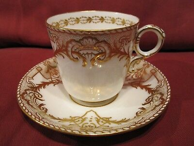 Stunning 19Th Century 1800's Copeland Cabinet Cup And Saucer White Gold Gilding