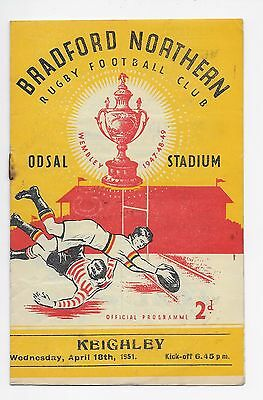 Bradford Northern V Keighley 1951 Rugby League Programme England Yorkshire