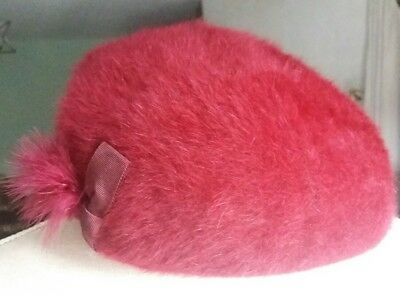 Vintage 50s British Made Deep Pink Fluffy pt Angora Beret Hat w/ Bow Feather