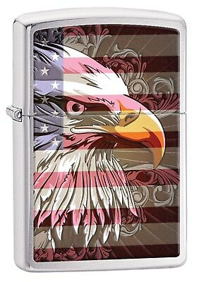Zippo Lighter: Eagle and Flag - Brushed Chrome 28652