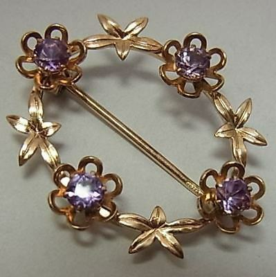 Pretty Vintage (1964) 9Ct Gold And Amethyst Brooch