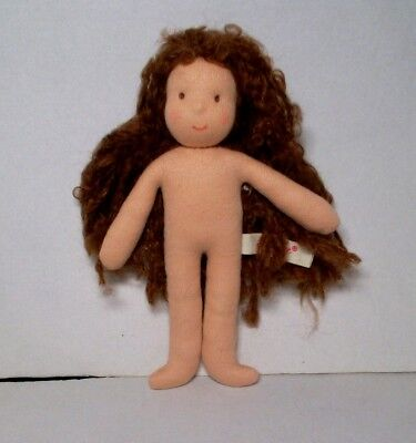 New Kathe Kruse Waldorf Doll 7 inches Brown Hair without outfit NEW
