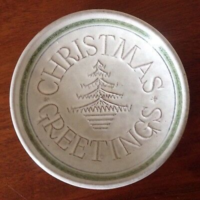 RYE POTTERY SMALL CHRISTMAS GREETINGS DISH,GREY GREEN BLUE 3-3/4 inches.