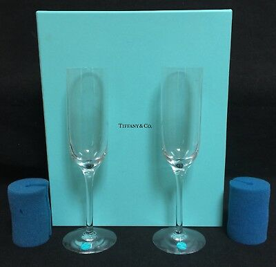 4937996cd987d TIFFANY   CO Crystal Classic 2 Mouth Blown Champagne Flutes NEW in ...