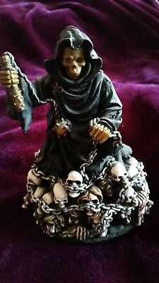 Grim Reaper resin Ornament with skulls and chains