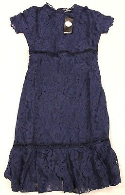 boohoo Women s Boutique Lori Lace Detail Frill Bodycon Dress Navy TW4 US 4  ... c24cf7607
