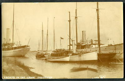 YACHTS IN THE SOUTHWICK CANAL, Sussex. C1910 RP