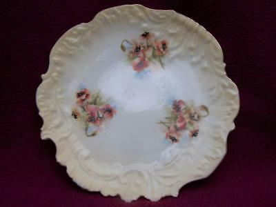 Antique Nautilus Porcelain Hand Painted Poppies Cake Plate