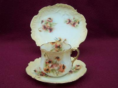 Antique Nautilus Porcelain Tea Cup Saucer & Side Plate Trio