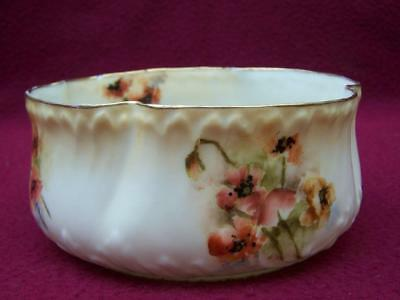 Antique Nautilus Porcelain Hand Painted Poppies Sugar Bowl