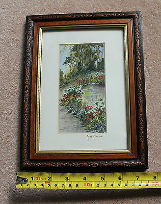 100% Embroidered Painted English Rural Landscapes Scenes by Anne Harrison Glazed