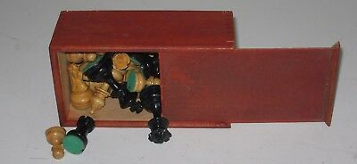 Vintage Chess Set Slide Lid Wooden Box Game Toy Made in France