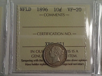 1896 Newfoundland 10-Cent Silver Coin - Iccs Certified Vf-20