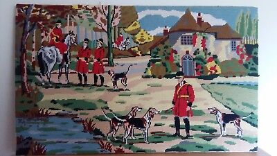 """Handworked completed tapestry """"HUNT GATHERING"""" 71cm x 44cm (28""""x17"""")"""