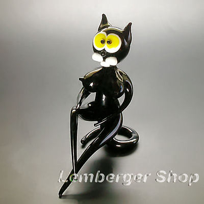 Glass figurine sexy cat made of colored glass. Height 7 cm / 2.8 inch!