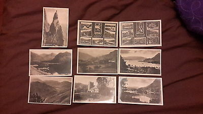 9 x Old postcards of Cumbria published by G P Abraham Ltd - Grasmere Church, Cha