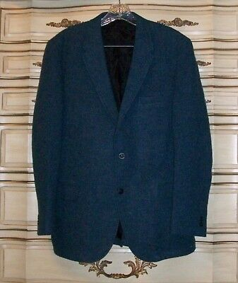 HARRIS Tweed Mens Medium Blue Wool 2 Button Sport Coat Blazer 42R? Vintage