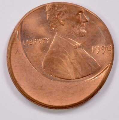 1c 1980s/1990s Dated Lincoln Cent Struck 25%-75% Off-Center BU