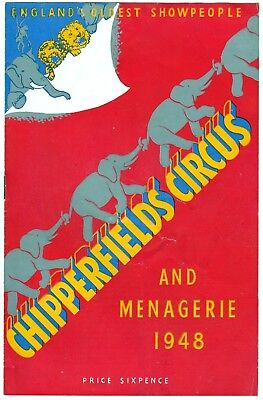 Chipperfields Circus And Menagerie Programme 1948
