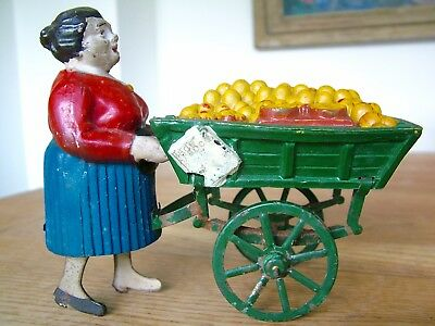 Rare Antique French Clockwork Toy Lady Fruit Seller Brevete Sgdg Tin Plate Toy