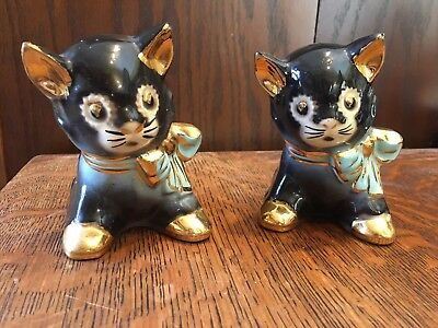 Vintage Pair of Small Black Kitten Planters with Gold Accents