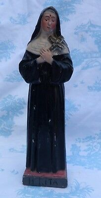 Old Time Worn Statue of Saint Rita, Patron Saint of Impossible Cases, Motherhood