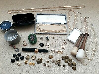 Joblot 60+ Vintage Antiq Curios Collectables Medals Pearls Buttons Lighter Pins