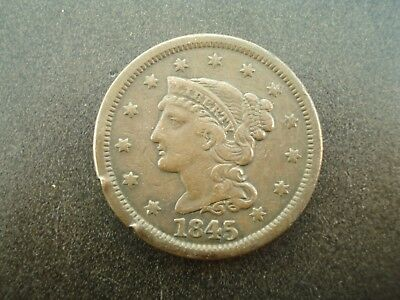 1845 Braided Hair Large One Cent Penny 1c Coin **NO RESERVE**