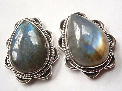 Boucles d'oreilles Pierre précieuse Labradorite Square 925 Sterling Silver Stud Earrings with Rope Style Accents