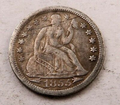 1855 Seated Liberty Dime // VF // (D702)