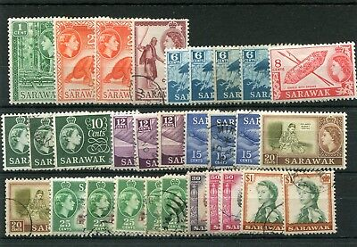 Sarawak. 30-- Early Qe2 Mm/used Stamps On Stockcard. Includes $1.