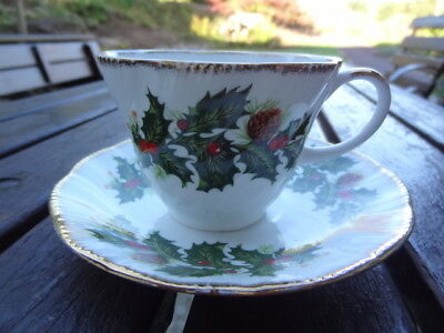 Vintage Queens Yuletide Fine Bone China Cup and Saucer