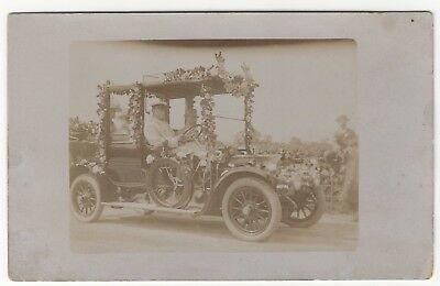 Chauffuer Driven Rolls Royce Decorated With Flowers Old Real Photo Postcard